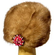 "Vintage 60s ""RUSSIAN PRINCESS"" Honey Mink Fur Bucket Hat 1960s - w/PINK RHINESTONE BROOCH"