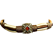 "High-End Vintage 80s cocktail Rope Belt w/White/Copper RHINESTONE ""Buckle"" 1980s"