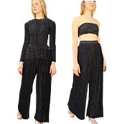 $1500 Vintage 80s MARY MCFADDEN COUTURE 3pc Black Pant Suit/Tunic/Tube Top 1980s