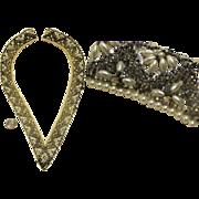 "UNUSED Spectacular Vintage 50s Silver Beaded/AB Rhinestone Collar HONG KONG 28""  - 1950s"