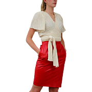 RARE RED Vintage 80s Emanuel UNGARO Soft, bold Leather Pencil Skirt -- Extra Small