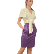 Vintage 80s Emanuel UNGARO Soft, GRAPE PURPLE Leather Pencil Skirt--- Extra Small