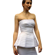 ❤❤❤❤❤ Vintage 80s WHITE Avant Garde/Column Custom WEDDING GOWN/Formal Party Dress 1980s ❤❤❤❤❤