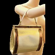 ❤❤❤❤❤ VINTAGE SALE!! ❤❤❤❤❤ Rare Mid Century Vintage 50s WOOD and GOLD Lame' foil Bucket Bag/PURSE 1950s