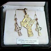 "❤❤❤❤❤ VINTAGE SALE!!! ❤❤❤❤❤ Unused ""Unusual"" Vintage 70s CELTIC braid knot ESTATE Sterling Silver Cross Necklace/Earrings Set --  HALLMARKED, ITALY 1970s"