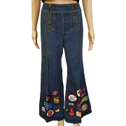 ❤Ultimate Hippie Bell Bottom Vintage 70s Festival WRANGLER Jeans with Patches/Patched! XS  - 1970s