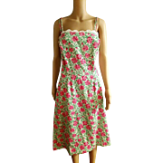❤RARE Signed Vtg 70s LILLY PULITZER The Lilly Palm Beach roses motif Midi sun Dress 1970s