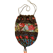 PRE-1920s Microbeaded Vtg/Antique EDWARDIAN deco Reticule Bag Purse -PROVENANCE