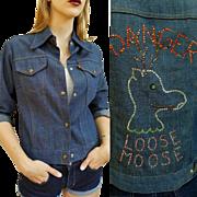 "So RARE Vintage 70s LEVI'S Orange Tab RHINESTONE ""Loose Moose"" Denim Shirt Jacket 1970s"