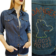 "❤❤❤❤❤ VINTAGE SALE!!! ❤❤❤❤❤ So Rare Vintage 70s LEVI'S Orange Tab RHINESTONE ""Loose Moose"" Denim Shirt Jacket 1970s"
