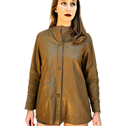 ❤❤❤❤❤ VINTAGE SALE!!! ❤❤❤❤❤ Mod ❤ Vintage 60s BONNIE CASHIN-SILLS Taupe Leather turn-lock button Coat Jacket 1960s
