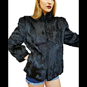 ❤❤❤❤❤ VINTAGE SALE!!! ❤❤❤❤❤ Avant Garde Wearable Art: ❤ Vintage 80s Lush Midnight Black Rabbit FUR Jacket/Coat  1980s