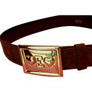 "1980s Mint Condition Vintage 80s ESCADA ""❤E❤"" Suede Leather gold whimsical buckle Belt - 30-32""  waist"