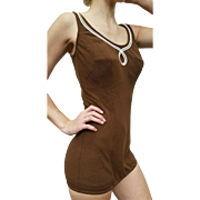 ❤MOD Pin-Up Gal❤ Vintage 60s SEAR'S Cocoa Knit Shelf Bra SWIM/Bathing Suit - 1960s