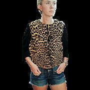 1 of a Kind: Vintage 60s GEOFFREY'S CAT/Ocelot print Real Cat Fur Sweater/Top - 1960s Mod