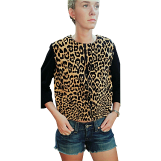 1 of a Kind: Vintage 60s GEOFFREY'S CAT/Ocelot print Real Cat Fur Sweater/Top - 1960s Mod