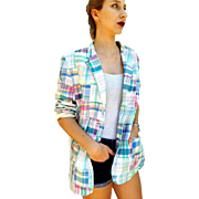 Trendy Again: UNUSED RALPH LAUREN vintage iconic 90s Patchwork blazer jacket - One Size Fits Most - 1990s