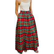 Iconic Vintage 1980s/80s Chic: Christmas Red PLAID Satin TAFFETA Ball Gown MAXI Skirt - XS