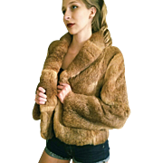 Vintage Glam: 80s NATURAL RANCH RABBIT fur Fitted Blazer jacket Coat - Extra Small to Small 1980s