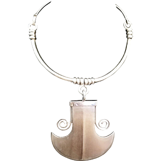 w/ $2900 Appraisal:  Vintage 60s TANE of MEXICO Sterling Silver Modernist Necklace 1960s
