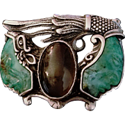 "Vintage  $1200 SERGIO GOMEZ Sterling Silver/CARVED JADE/Glass ""2 Chiefs Heads"" Belt Buckle"