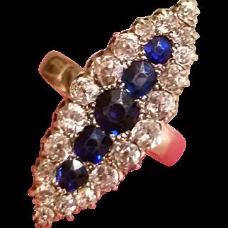 w/ $4500 Appraisal : Vintage ANTIQUE Victorian 1800s 14kt Gold SAPPHIRE/DIAMOND Ring -  4 1/2