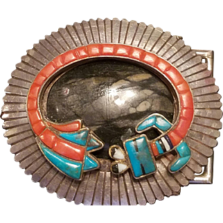 Vintage KEE JOE BENALLY Silver/Turquoise/Onyx Signed Belt Buckle NAVAJO
