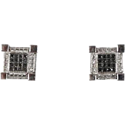 Vintage Estate Black & White Diamond Stud Earrings with Secure Screwback Closure. .60 carats
