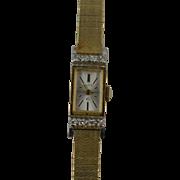 10k SOLID Yellow Gold Elgin Ladies Watch, Clean Dial, 8 Natural Diamonds, Mint Crystal, 17 Jewel Elgin Movement. Running