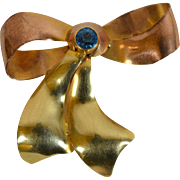 Stunning Rare Art Deco Walter Lampl Rose & Yellow Gold Bow Brooch with a Beautiful Blue Topaz.