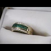 European Vintage 14 Karat Yellow Gold 1+ Carat Diamond & Emerald Band. Size 6.25
