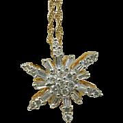 Vintage Estate 14 Karat Yellow Snowflake Pendant. A Half Carat. G-H Si1-2.