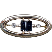 Estate European Art Deco 14 Karat Yellow Gold Diamond and Royal Blue Emerald Cut Sapphire Pin / Brooch. 3.6 grams