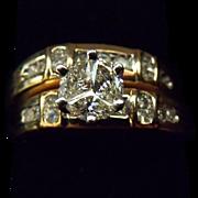 Vintage Designer Signed 14 Karat Yellow Gold .87 Carat Diamond Wedding Set. Sz 7.