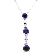 Vintage Estate 14 Karat White Gold Sapphire and Diamond Pendant Necklace. 18 Inches.