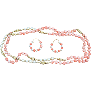 Art Deco Estate 14 Karat Yellow Gold Flapper Length Angel Skin Coral, Pearl and Gold Bead Necklace with Matching Earrings.