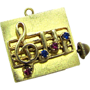 """HUGE & Rare Vintage Swiss Made Colibri Musical 14 Karat Gold Charm. Plays """"Let me call you sweetheart"""". 18.2 grams."""