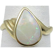 Art Deco Engel Brothers NYC 2.00 Stunning Pear Cut Opal Nestled in 14 Karat Yellow Gold. Size 7