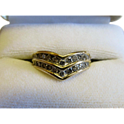 Beautiful 1940's Frederick Goldman Two Row Chevron Diamond Ring. Ring Enhancer or Right Hand Ring. .66 carats. Si1-2 H-I.