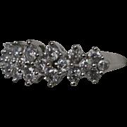Vintage Estate 14 Karat White Gold Diamond Wedding Anniversary Ring Band. 1.25 Carats. Size 7.