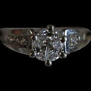Vintage Designer Incredible 14 Karat White Gold Diamond Engagement Ring. .78 Carats. Size 5.5.