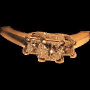 Vintage Estate Magic Glo 14 Karat Gold & Platinum .50 carat Three Diamond Anniversary Ring. Size 5 1/2. H - Si1