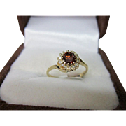 LAST CHANCE LOWEST PRICE  Upcycled 1940's Red Diamond Ring in a 1960's Round Diamond Setting. .61 carats. Size 5.