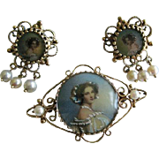 FINAL PRICE Stunning Victorian Estate Set. 14 Karat Painted Portrait Brooch/Pendant with Matching 14 Karat Painted Portrait Earrings. Gorgeous!