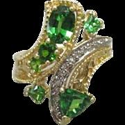 Custom Made Pinky or Right Hand 1.21 Carat 14K Tsavorite Garnet & Diamond Ring. Size 4.75