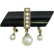 Incredible 15 Karat Yellow Gold Victorian Mourning Pin featuring a 20 Carat Piece of Onyx with Seed Pearls and Glorious Dangling Large Pearls