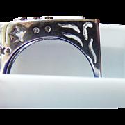 1980's 18 Karat White Gold Custom Made Musicians Ring. Diamonds and 18 Karat White Gold. Oh Yes