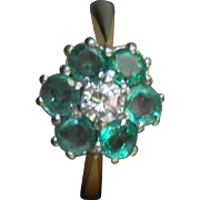Antique Victorian 18 Karat Yellow Gold 1.45 Carat Emerald & Diamond Engagement Cluster Ring. Size 6
