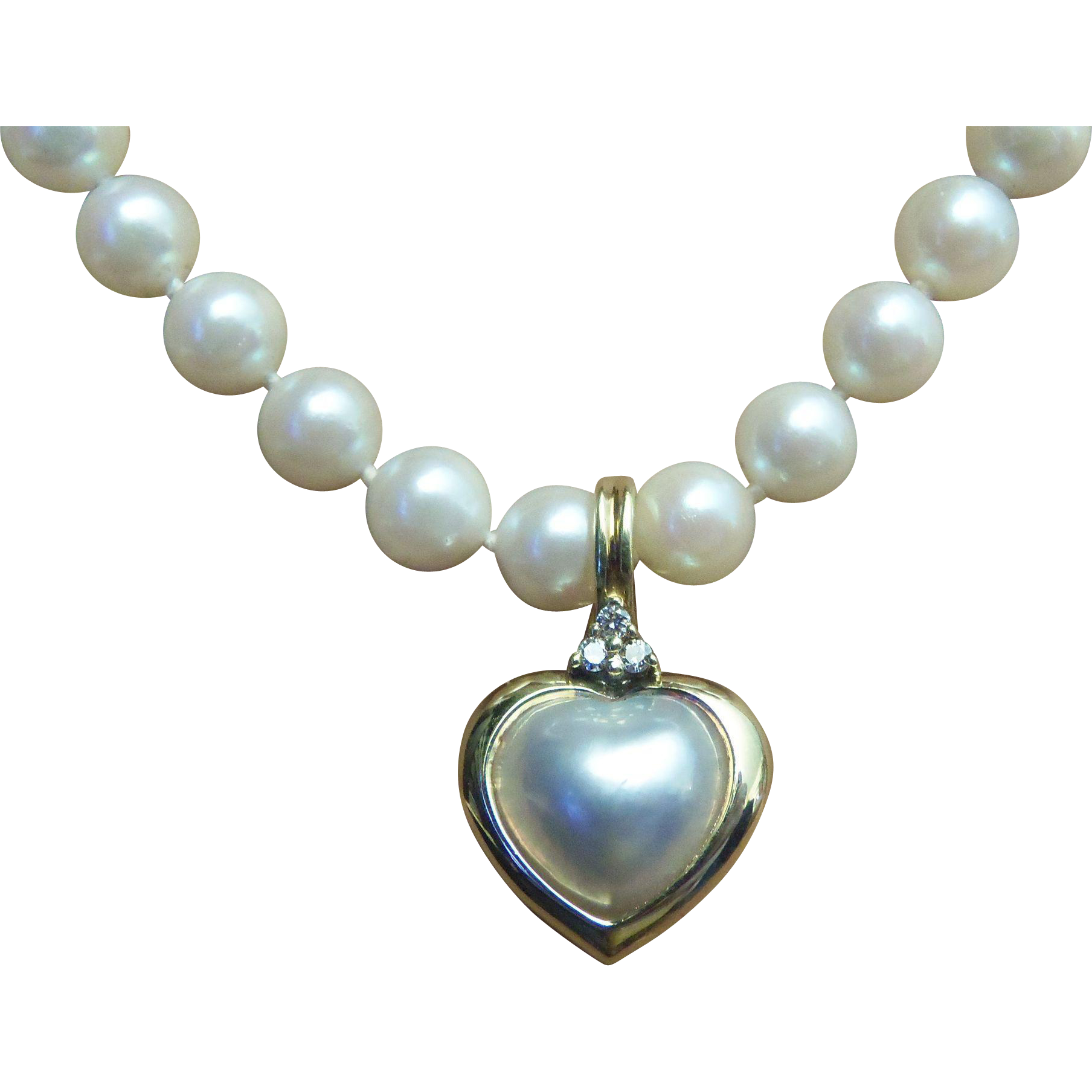 Stunning Estate Elizabeth Locke 18 Karat Mabe Pearl & Diamond Enhancer On A  Gorgeous 18 Inch Pearl Necklace  Red Tag Sale Item
