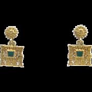 Art Deco 18 Karat Yellow Gold Aztec Malachite Dangle Earrings. Rare and Beautiful.